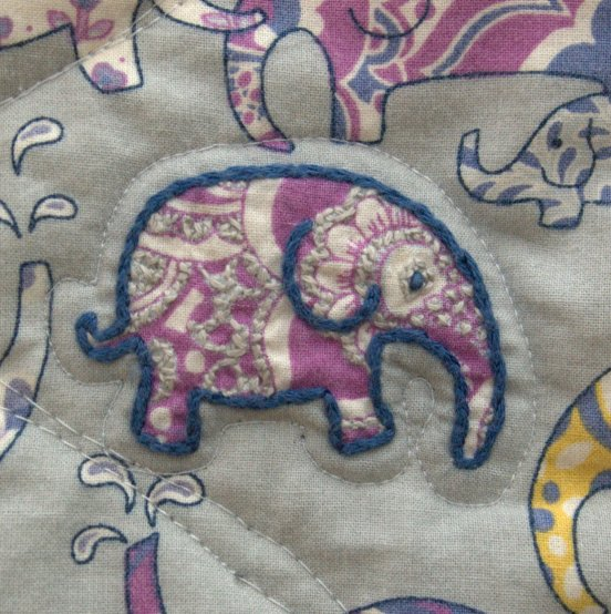 Laurel and Pine Embroidered Elephant