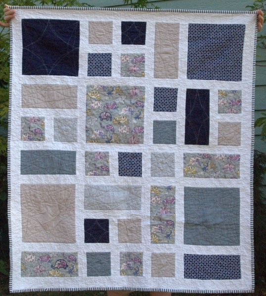 Laurel and Pine Finished Baby Elephant Quilt