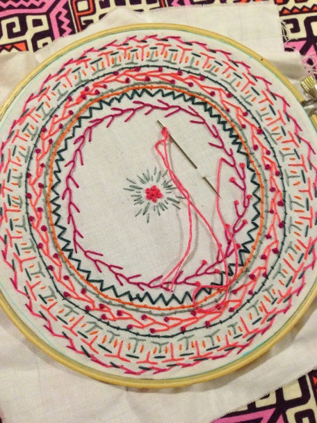 Laurel and Pine Embroidery Progress