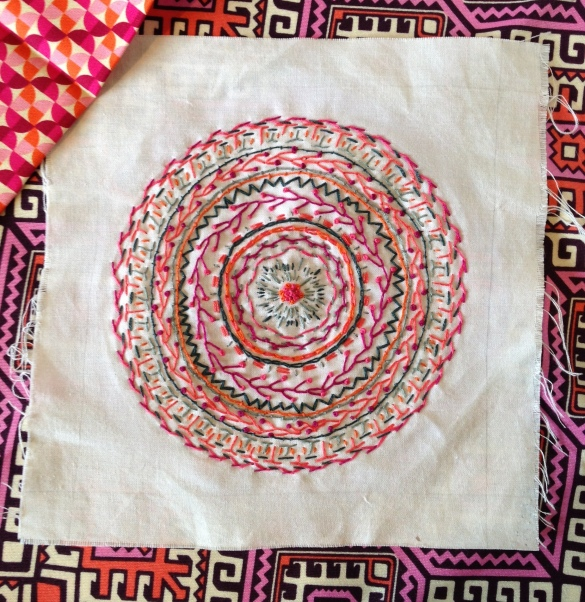 Laurel and Pine_ Embroidery from above