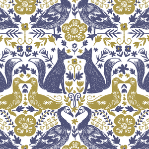 Hawthorne Threads Forest Fables Folk Tails in Indigo