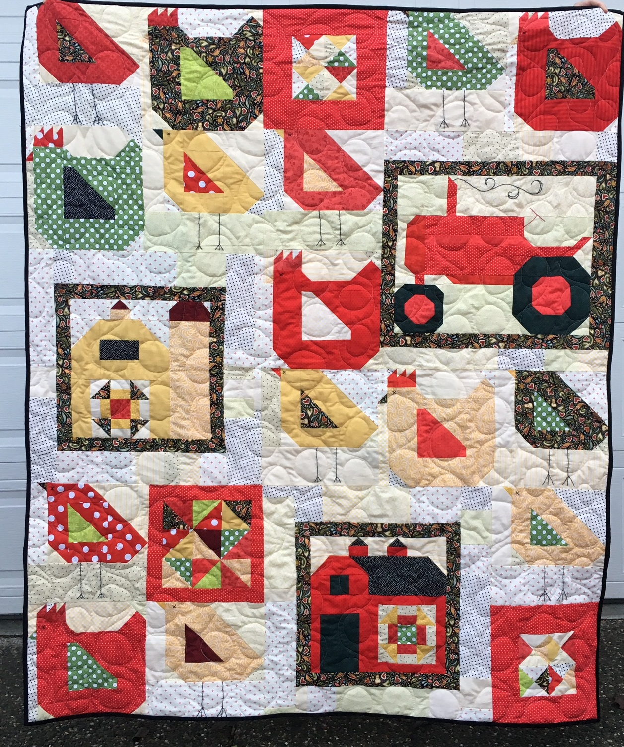 aurel Poppy and Pine Farm Girl Vintage Quilt