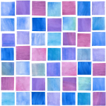 Watercolor Squares Blueberry