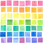 Watercolor Squares Over the Rainbow