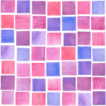 Watercolor Squares Raspberry